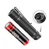 Klarus E1 1000 Lumen EDC Taschenlampe, Dual Tail Switch Tactical Torch Light mit wiederaufladbarem USB 18650 Akku, IPX8 Waterproof