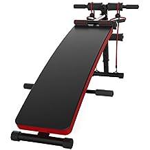 JUFIT Banco de musculación ajustable con 2 cable de cuerda, carga máxima hasta 120 kg, color negro