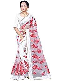 I-Brand Net Saree with Blouse Piece (ISUNS2790_White_Free Size)