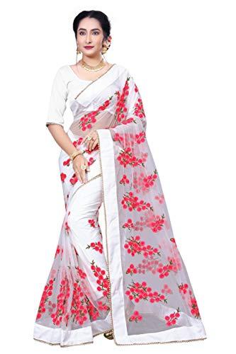 Sunshine Fashion Women\'s Mono Net Saree With Blouse Peice (White_FreeSize)