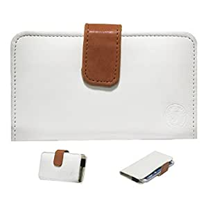Jo Jo A8 Nillofer Leather Carry Case Cover Pouch Wallet Case For Sony Xperia c-5 ultra White Orange