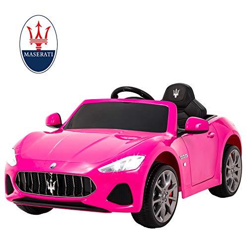 Uenjoy Maserati 12V Voiture Electrique pour Enfants avec Télécommande, MP3, lumière,Rose