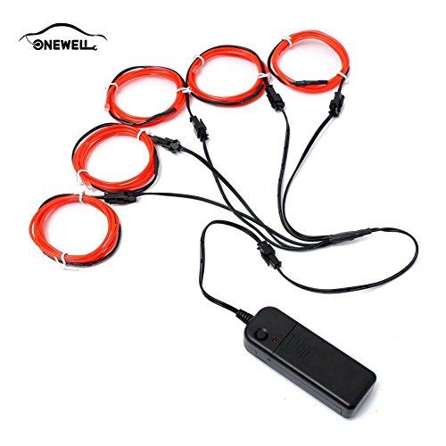 Neon Glowing Strobing Licht mit AA Batterie Wechselrichter für Halloween Weihnachtsfeier Auto Dekoration (ORANGE) (Orange Led-halloween-lichter)