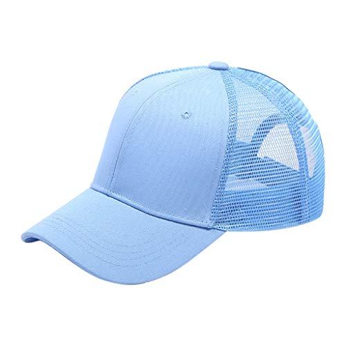 Fuibo Kappe für Herren und Damen, Pferdeschwanz unordentlich Brötchen Trucker Plain Baseball Visier Cap Papa Hut | Basecap, Baseball Cap, verstellbar (Light Blue) Light Blue Trucker Hut
