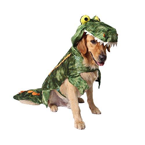 MUYAOPET Halloween Krokodil Hunde Kostüm Klein Großer Hund Kleidung Hund Party Kleid, XXL, Grün