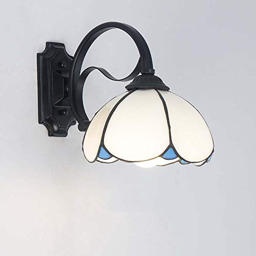 Iluminación De Apliques De Pared De Estilo Tiffany, Lámpara De Pared De Vidrio Manchado Mediterráneo...