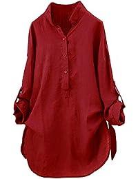 Rovinci_Robe Chemisier Femme Dentelle Tunique Haut Femme Chic Manches Longues Tops Blouse Pull Patchwork Col Rond T Shirt Casual T-Shirt Chemisier Blouse