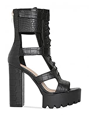 f742df6216e Lamoda Womens Lace Up Platform Heels with Cut Out Detail in Black ...
