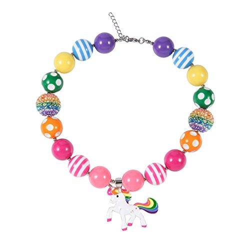 Up Kostüm Zubehör - Das beste Schmuck / Acryl Perlenkette mit niedlicher Cartoon Einhorn-Anhänger-Muster Kinder Halsketten handgearbeitet,geschenke für klein mädchen (Cartoon Kostüme Für Mädchen)