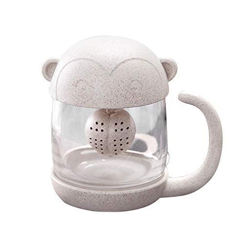 Wawer Nette Katze-kleiner Affe-Glasschalen-Filter-Cup Glas Tee Becher mit entfernbarer Blasen-Auszieherhitze und Explosionsbeweis (Affe)