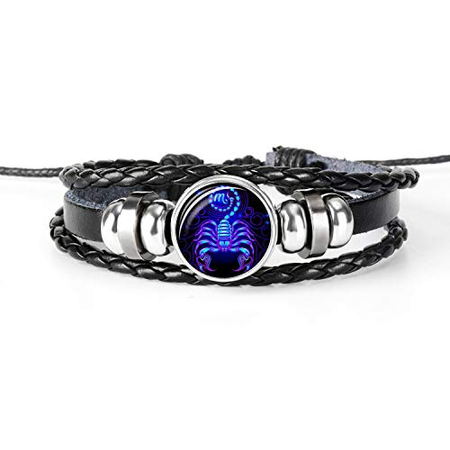 Jewelry & Accessories Luminous 12 Constellation Zodiac Sign Bracelet Men Black Leather Bracelets Cancer Leo Virgo Libra Taurus Glass Dome Punk Jewelry Crease-Resistance