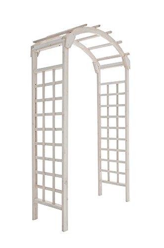 floristikvergleich.de CLP stabiler Holz-Rosenbogen VISBY aus beschichtetem Vollholz, handgefertigt, Höhe 210 cm, Breite 125 cm weiß-lasiert