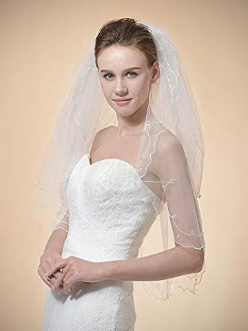 Remedios 2 Schichten Ellbogenlange Brautschleier Hochzeit Schleier Bleistift Kante 32.5 inch in Elfenbein