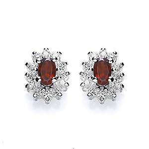 Tower Jewellery Garnet And Cubic Zirconia Cluster Stud Earrings