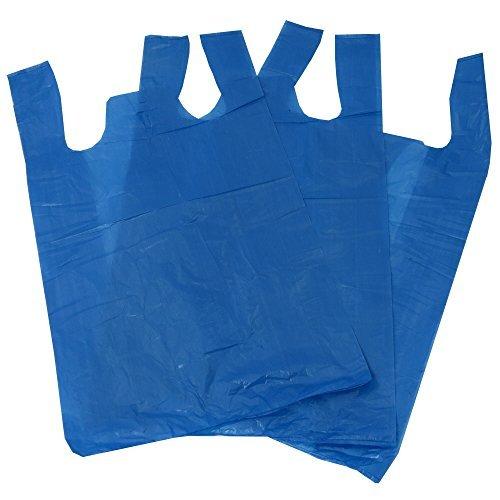 Sacchetti di plastica in polietilene, stile canottiera, 100 pezzi, dimensioni 28 x 43,18 x 53,34 cm, colore: azzurro, ideale come...