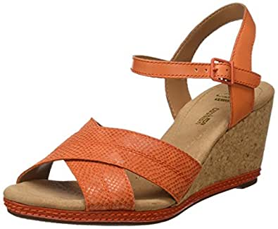 Clarks Helio Latitude, Women's Ankle Strap Sandals, Orange (Orange Leather), 6 UK (39.5 EU)
