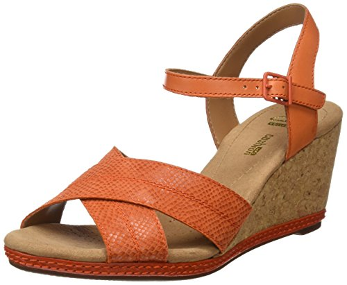 Clarks Damen Helio Latitude Knöchelriemchen, Orange (Orange Leather), 37 EU