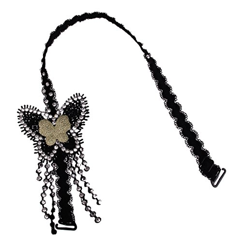 Imported Women Sexy Rhinestone Butterfly Bra Strap Shoulder Strap Halterneck Black  available at amazon for Rs.265