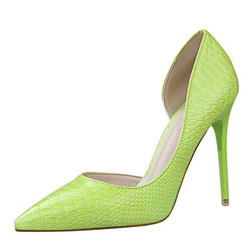 OALEEN Escarpins Pointu Serpent Vernis Côté Ouvert Chaussures Talon Haut Aiguille Office Femme