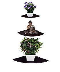 Madhuran Corner wall shelf Wenge set of 3 / Display Dcor wooden Decorative decoration dining Dark Storage shelves acts stand slabs Showcase Statues Shower Stellar Mounted mdf multipurpose mantelpieces Counter cupboard chest acts cabinet Home holder Kitchen Keeping Rectangular racks room Ladder living Floating Bracket brown black Book bed Organizer office Perfect Place Photoframes Utility trophy items Captiver Series