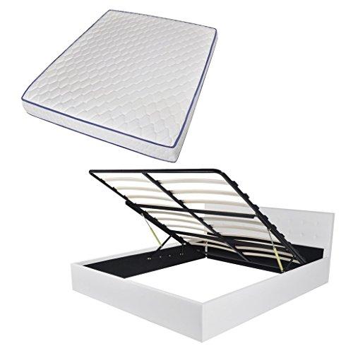 Festnight Bett Bettrahmen Polsterbett Kunstlederpolsterung Doppelbett Bettgestell mit Staufach & 160×200 cm Memory-Matratze Weiß