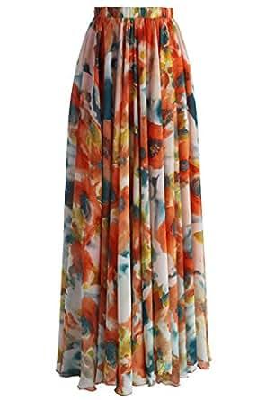 Annflat Women's Floral Printed Frill Chiffon Maxi Skirt Small Orange