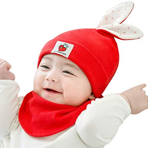 Liqiqi  bambino cappello neonato inverno primavera regalo berretto di cotone bavaglini set   carino tinta unita orecchie di coniglio cappello caldo bambini infantili neonato ragazze unisex