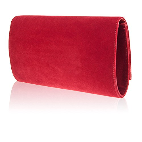 Zarla frizione da donna in finta pelle scamosciata, da donna, per abiti da sera, da donna, taglia M, misura: Large Rosso (rosso)