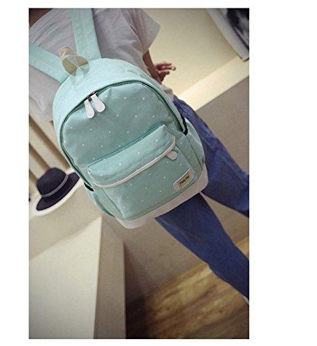 Remeehi moda DOT modello ragazzine canvas zaino scuola borsa zaino per portatile 37,1cm + messenger bag + Purse, black (Grigio) - JXQ0691-7 sky blue