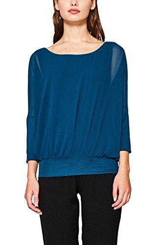 ESPRIT Damen Bluse 117EE1F034, Grün (Dark Teal Green 375), X-Large
