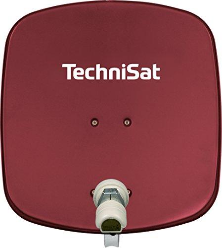 TechniSat DIGIDISH 45 Satellitenschüssel (45 cm kleine Sat Anlage mit Wandhalterung und Universal V/H Single-LNB für 1 Teilnehmer) rot