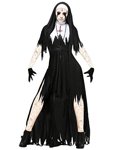 Hexenkostüm Und Hut Zauberin Feen Mittelalter Damen Horror Vampir Kostüm Halloween Outfit Karneval Schwarz 3351 XL (Vampire Büste)