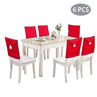Juego de 6 Fundas para sillas de Comedor de Navidad, con diseño de Gorro de Papá Noel, para decoración navideña, Color Rojo