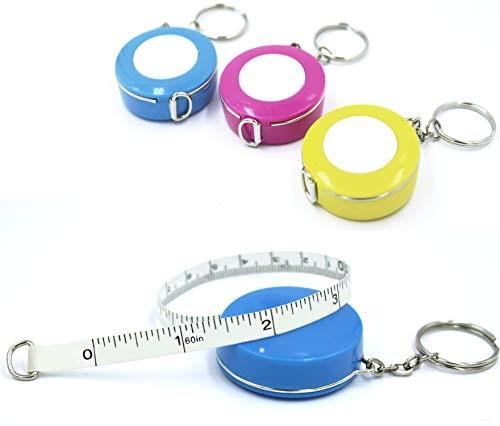 [3Pack] snik-s 152,4cm/150cm Push Button weich und Roll-Maßband mit Schlüsselanhänger für Körper doppelseitig Tailor Nähen Craft Reinigungstuch Diät Maßband Pink,Blue,Yellow