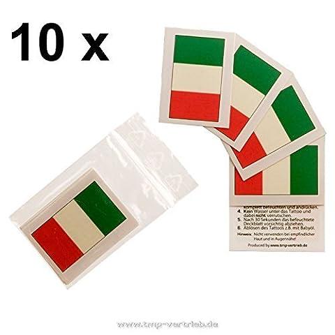 10 Italie Fan Tatouages - Italie drapeau- Euro 2016 en