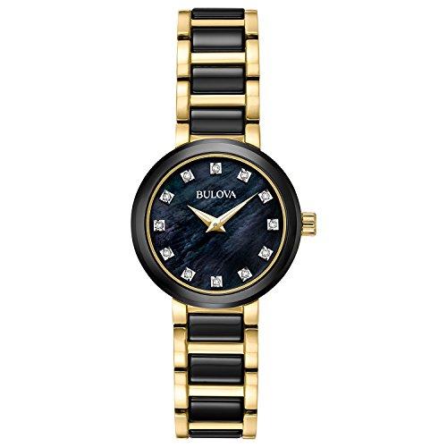 Bulova Women's Diamond 28mm Two Tone Steel Bracelet Quartz Analog Watch 98P159