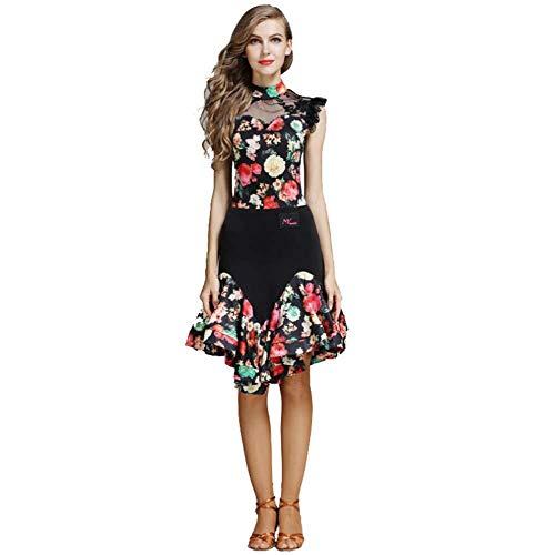 Dance Latin Nähen Kostüm Muster - Kleid Weibliche Erwachsene Latin Dance Kostüm Anzug Latin Dance Rock Spandex Gedruckt Tanzkleidung (Color : Red, Size : S)