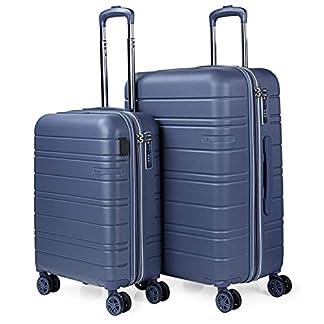 JASLEN – Juego de Maletas Rígidas de Viaje 4 Ruedas con USB Trolley ABS. Extensibles Duras Cómodas y Ligeras. Candado TSA. Tamaños Pequeña y Mediana 171215