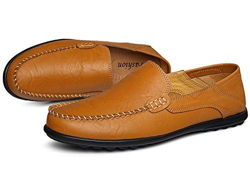 Gaatpot Hommes Casual Bateau Chaussures Conduite Plats Mocassins à Enfiler Loafers Jaune