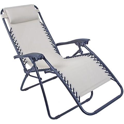 Sedia a Sdraio Reclinabile Da Giardino Kraft 12380 Benross Deluxe Colore Panna Con (Dragonfly Crema)