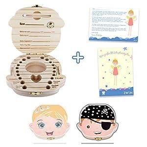ZWEN MILCHZAHNBOX 3.0 (Prinzessin & Pirat farbig) + süßer Zahnfeebrief I GRATIS E-Book I Milchzahndose für Mädchen…