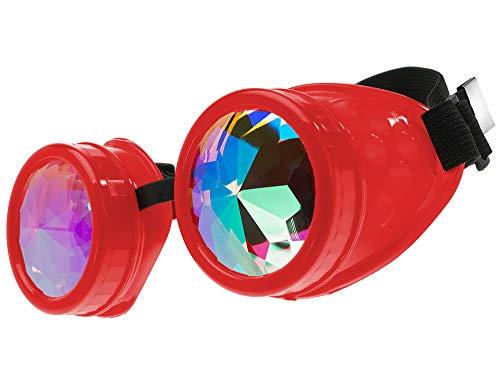 MFAZ Morefaz Ltd Schutzbrille Schweißen Sonnenbrille Welding Cyber LED Goggles Steampunk Goth Round Cosplay Brille Party Fancy Dress (Kaleidoscope Red)
