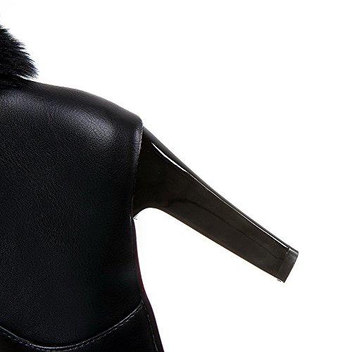 AgooLar Damen Rund Zehe Niedrig-Spitze Pu Leder Stiefel mit Beschlagene Strass Schwarz
