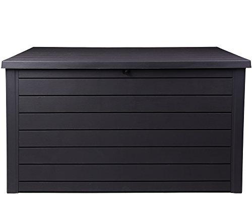 Ondis24 Ontario Kissenbox XXL Auflagenbox Anthrazit 870 Liter Holz Optik mit Gasdruckfedern ca. 146...