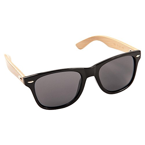 ECENCE Bambus Holz Sonnenbrille Wayfarer Damen Herren Unisex Aviator Nerdbrille Fashion Schwarz 23010207
