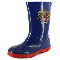 Paw Patrol New Boys Blue Chracter Wellington Boots - Navy/Red - UK Sizes 4-10