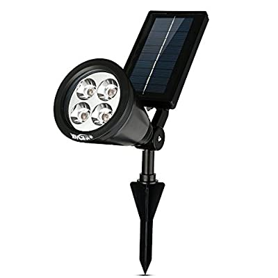 Super Bright Waterproof Outdoor Solar Powered LED Spot Light Spotlight/ Popular and Longest Lived Model/ A Best Buy for Years of Use/ Most Cost-effective for Added Security Landscape Lawn Yard Garden Pathways