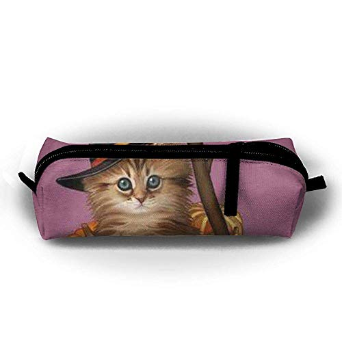 Pencil Case Halloween Cat Fashion Student Pen Holder Makeup Bag Zipper Pouch