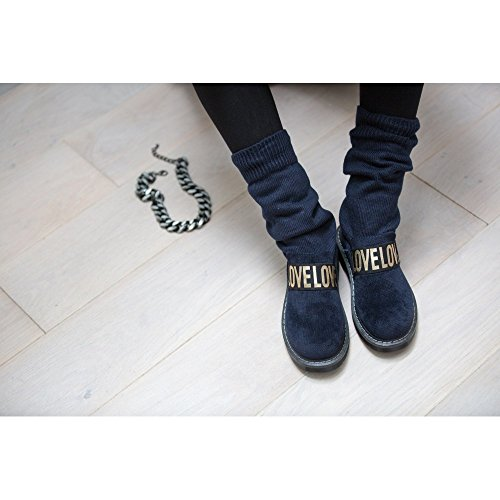 Ideal Shoes, Damen Stiefel & Stiefeletten Marineblau