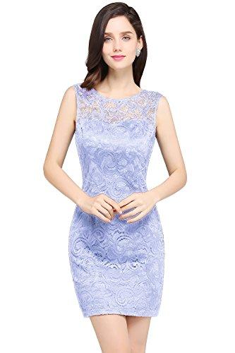 Damen Elegant Ämellos Kleid mit Blumenstickerei Spitzen Abschlusskleid Kurz Lila 46